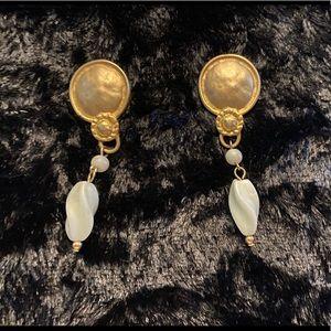 Gold , white earrings